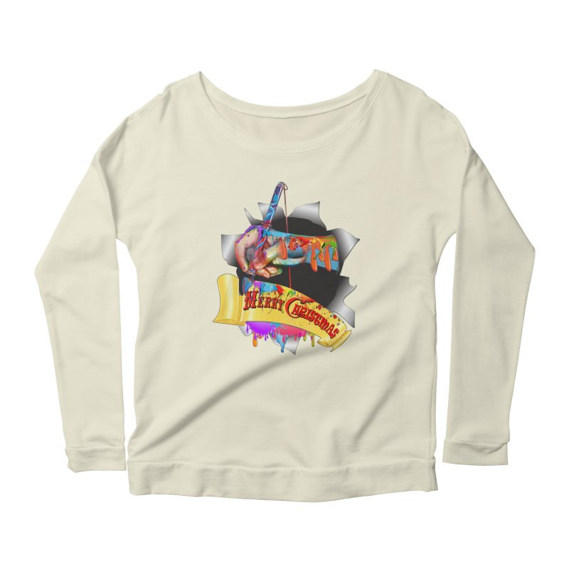 Marry Christmas Artist Women's Longsleeve Scoopneck  by NadineMay Artist Shop