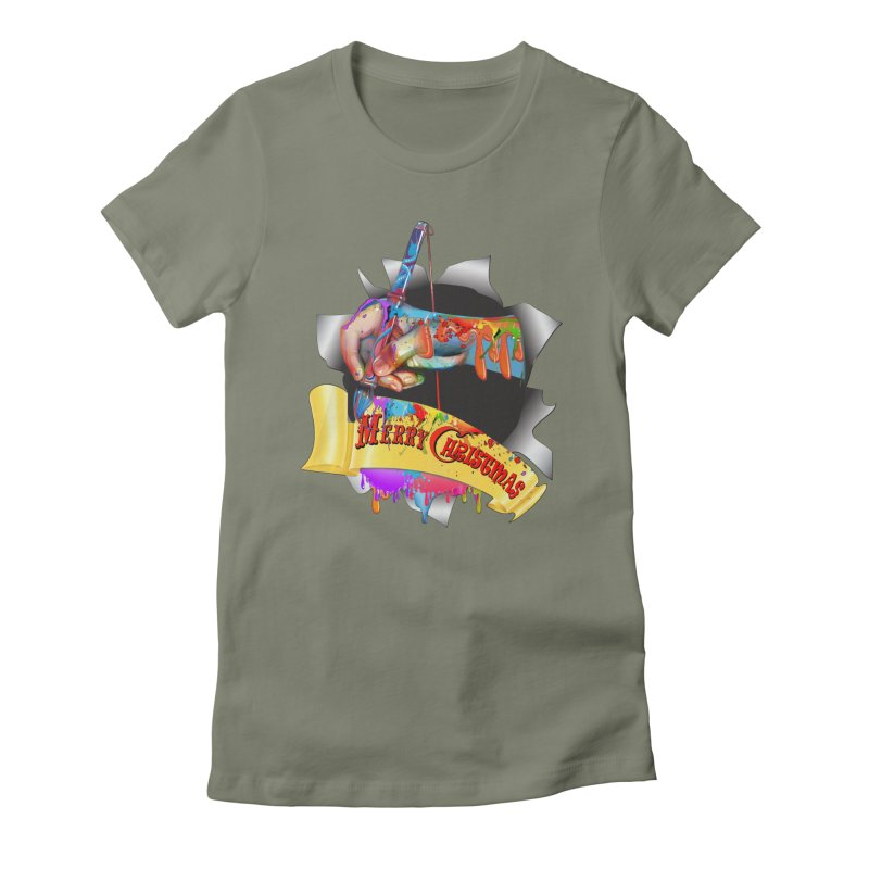 Marry Christmas Artist Women's Fitted T-Shirt by NadineMay Artist Shop