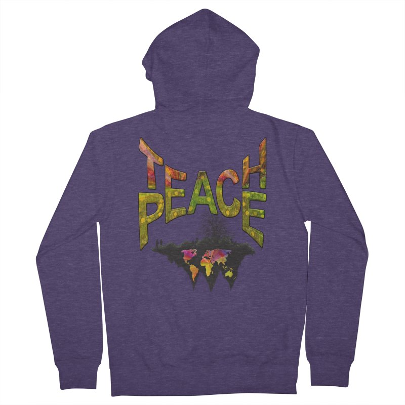 Teach Peace Men's French Terry Zip-Up Hoody by NadineMay Artist Shop