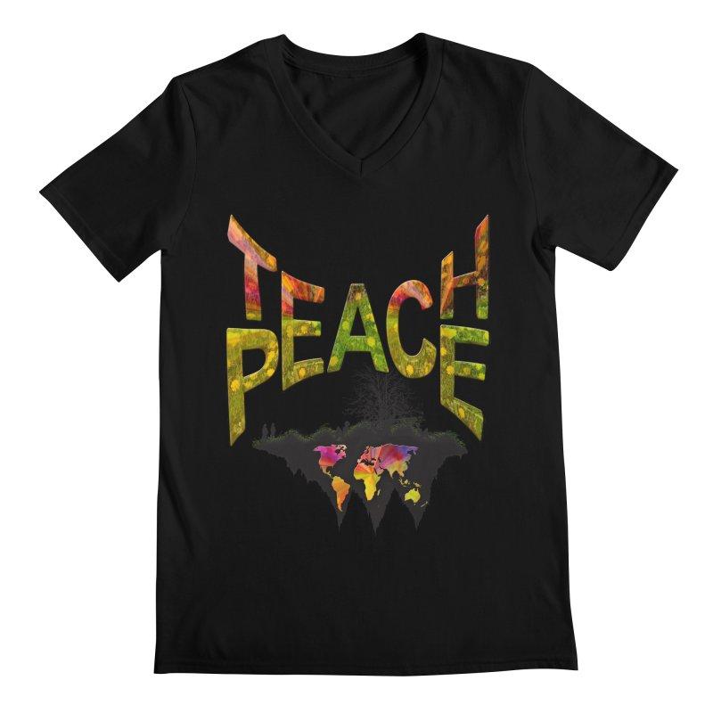 Teach Peace Men's Regular V-Neck by NadineMay Artist Shop