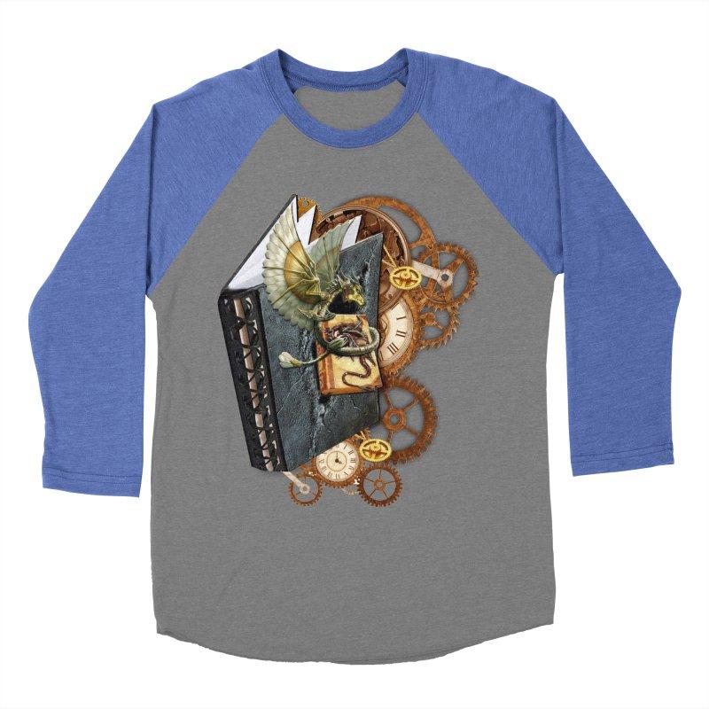 Steampunk Dragon Stories Men's Baseball Triblend Longsleeve T-Shirt by NadineMay Artist Shop