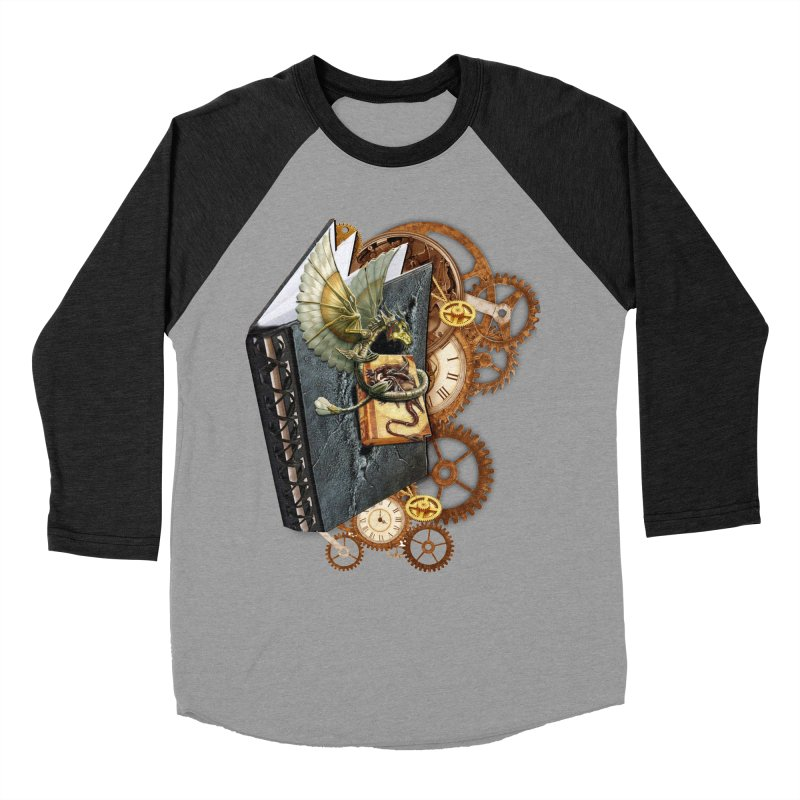Steampunk Dragon Stories Men's Baseball Triblend Longsleeve T-Shirt by NadineMay Artist Shop