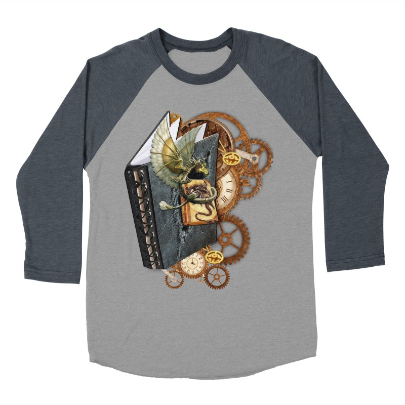 Steampunk Dragon Stories Men's Baseball Triblend T-Shirt by NadineMay Artist Shop