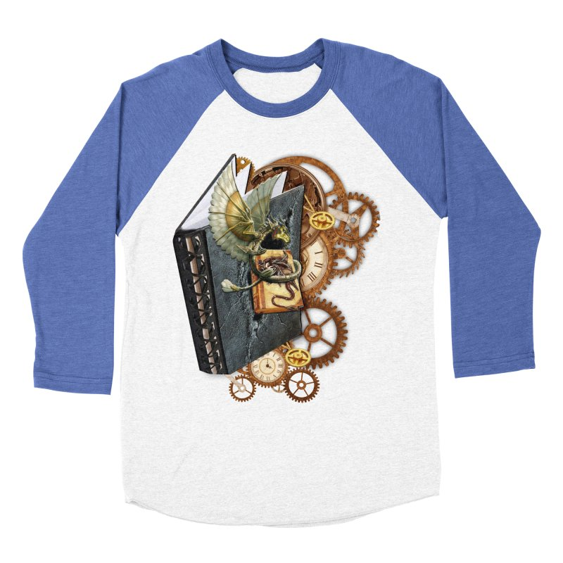 Steampunk Dragon Stories Men's Baseball Triblend T-Shirt by NadineMay Artist Shop