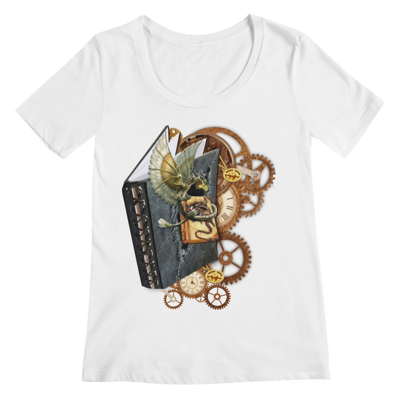 Steampunk Dragon Stories Women's Regular Scoop Neck by NadineMay Artist Shop