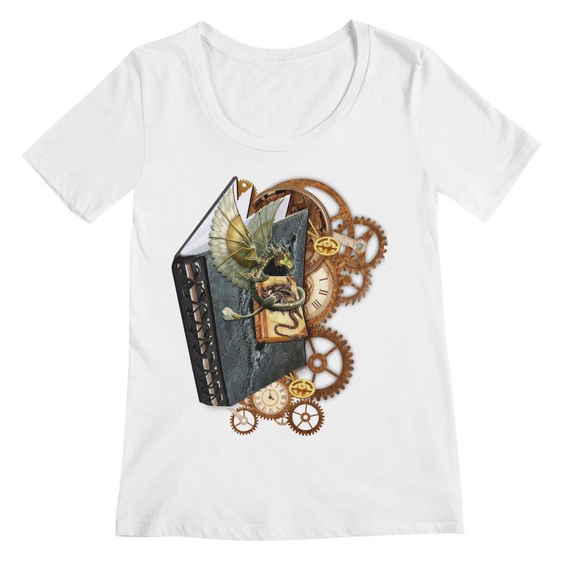Steampunk Dragon Stories Women's Scoopneck by NadineMay Artist Shop