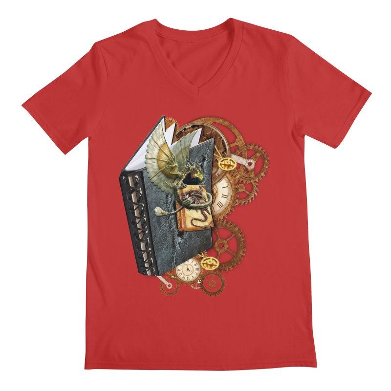 Steampunk Dragon Stories Men's V-Neck by NadineMay Artist Shop