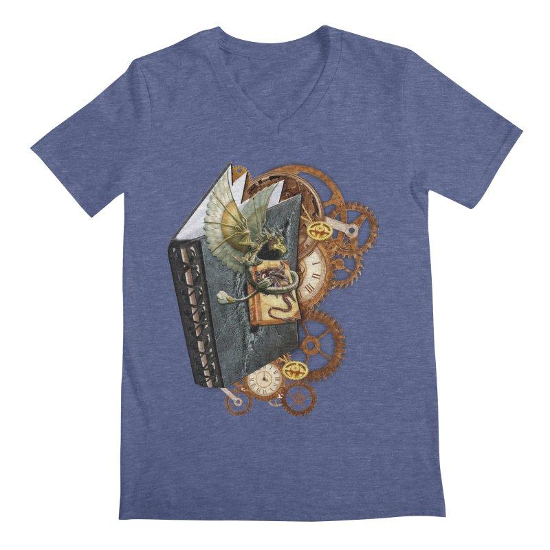 Steampunk Dragon Stories Men's Regular V-Neck by NadineMay Artist Shop