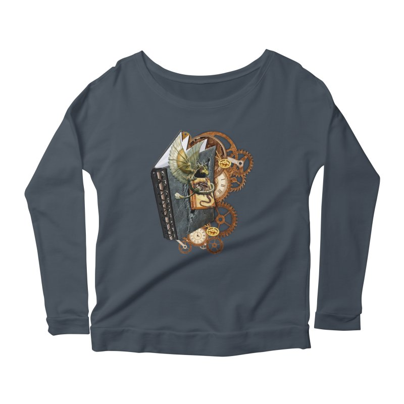 Steampunk Dragon Stories Women's Longsleeve Scoopneck  by NadineMay Artist Shop