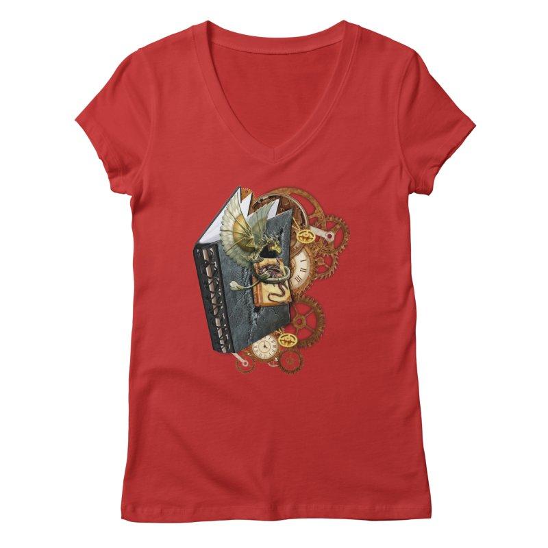 Steampunk Dragon Stories Women's V-Neck by NadineMay Artist Shop