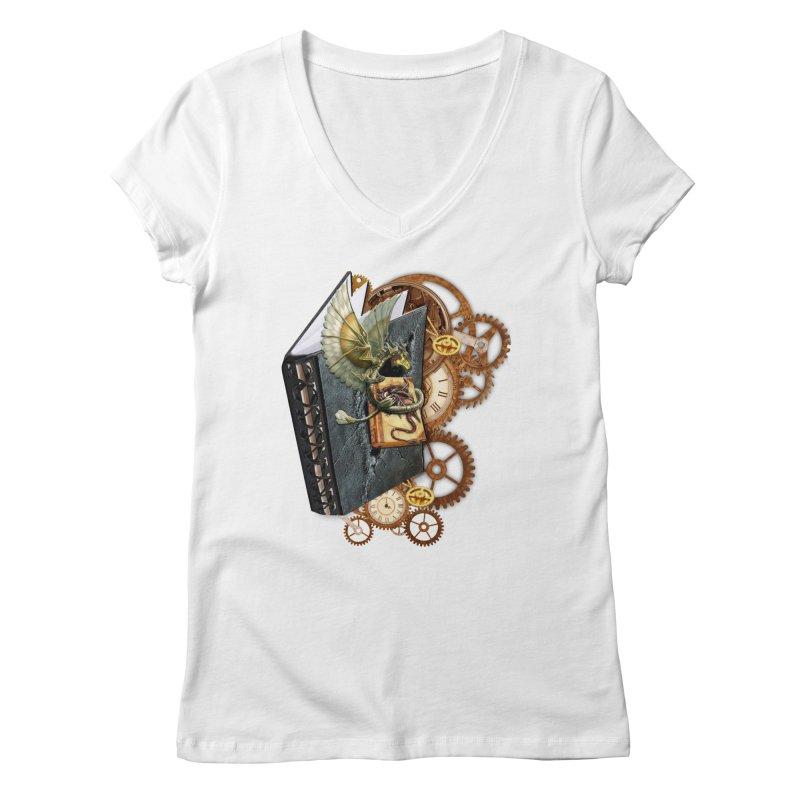 Steampunk Dragon Stories Women's Regular V-Neck by NadineMay Artist Shop