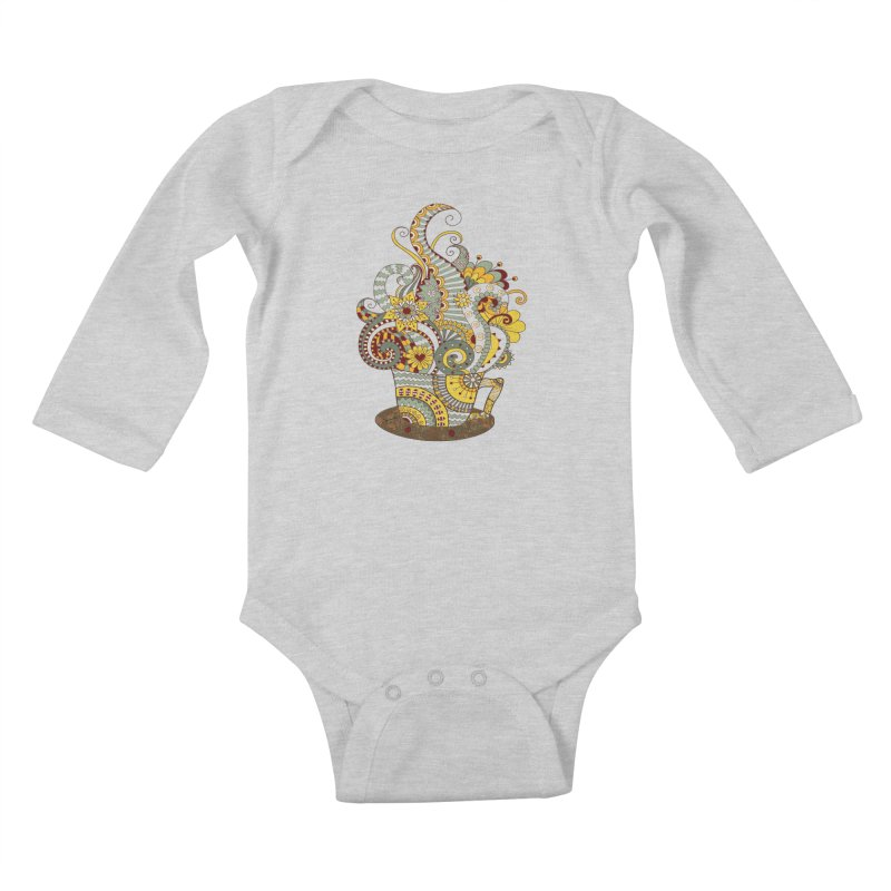 I Love coffee Kids Baby Longsleeve Bodysuit by NadineMay Artist Shop