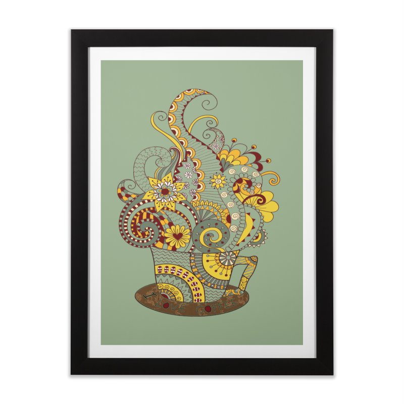 I Love coffee Home Framed Fine Art Print by NadineMay Artist Shop