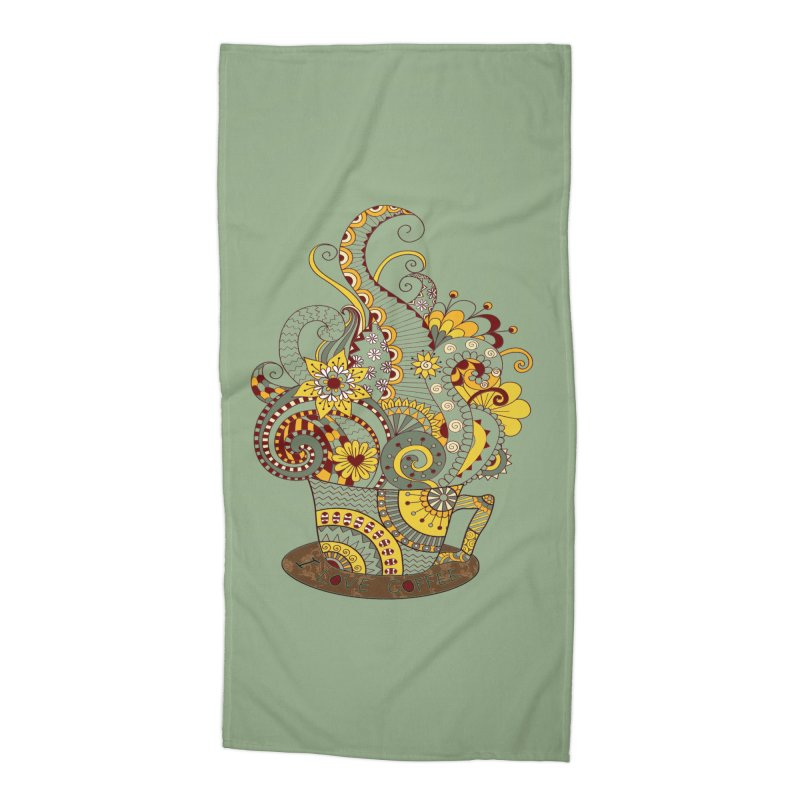 I Love coffee Accessories Beach Towel by NadineMay Artist Shop