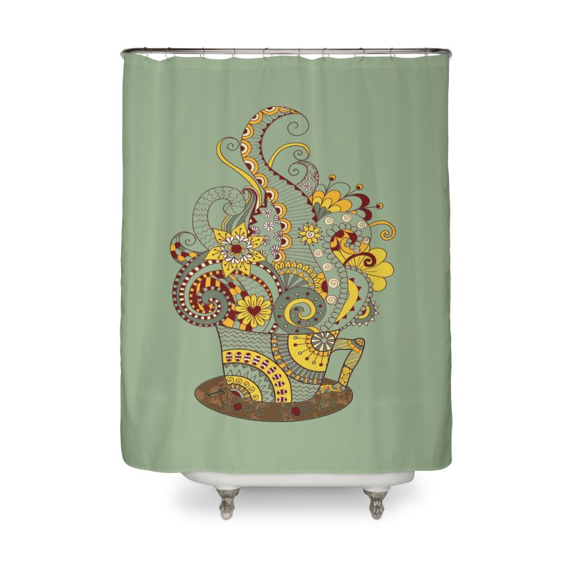 I Love coffee Home Shower Curtain by NadineMay Artist Shop