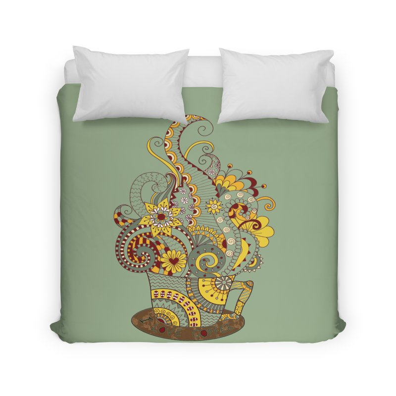 I Love coffee Home Duvet by NadineMay Artist Shop