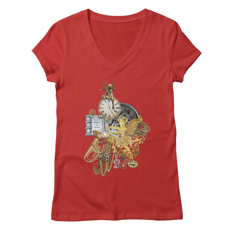 Steampunk-story telling Women's Regular V-Neck by NadineMay Artist Shop