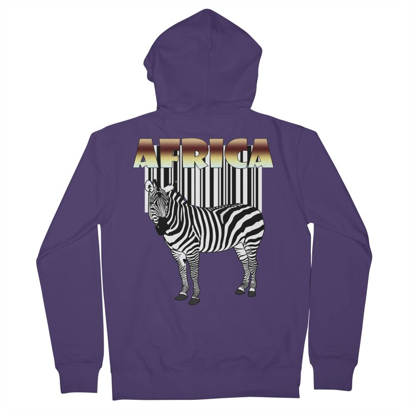 Afrika Zebra barcode Women's French Terry Zip-Up Hoody by NadineMay Artist Shop