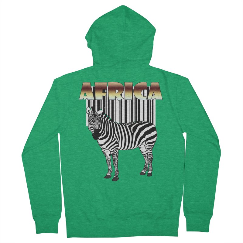 Afrika Zebra barcode Men's French Terry Zip-Up Hoody by NadineMay Artist Shop