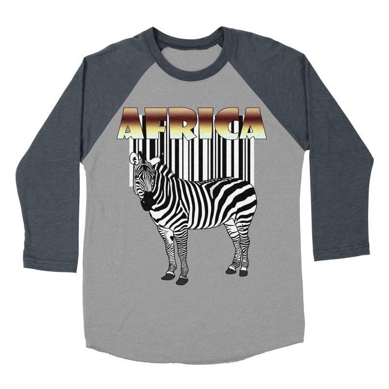 Afrika Zebra barcode Men's Baseball Triblend T-Shirt by NadineMay Artist Shop