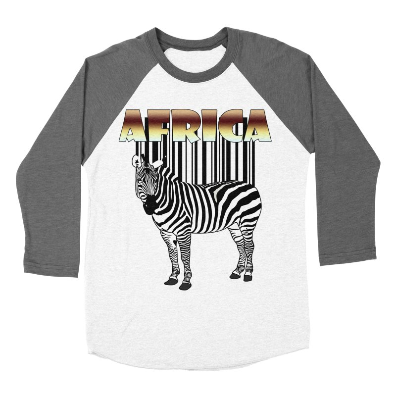 Afrika Zebra barcode Men's Baseball Triblend T-Shirt by NadineMay Artist Shop