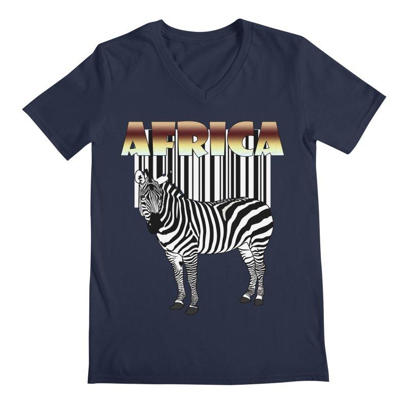 Afrika Zebra barcode Men's Regular V-Neck by NadineMay Artist Shop