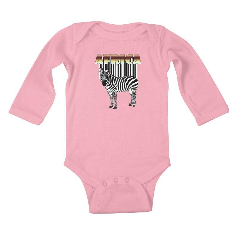 Afrika Zebra barcode Kids Baby Longsleeve Bodysuit by NadineMay Artist Shop