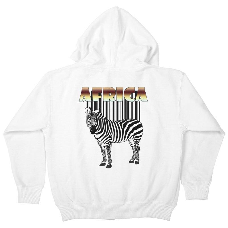 Afrika Zebra barcode Kids Zip-Up Hoody by NadineMay Artist Shop