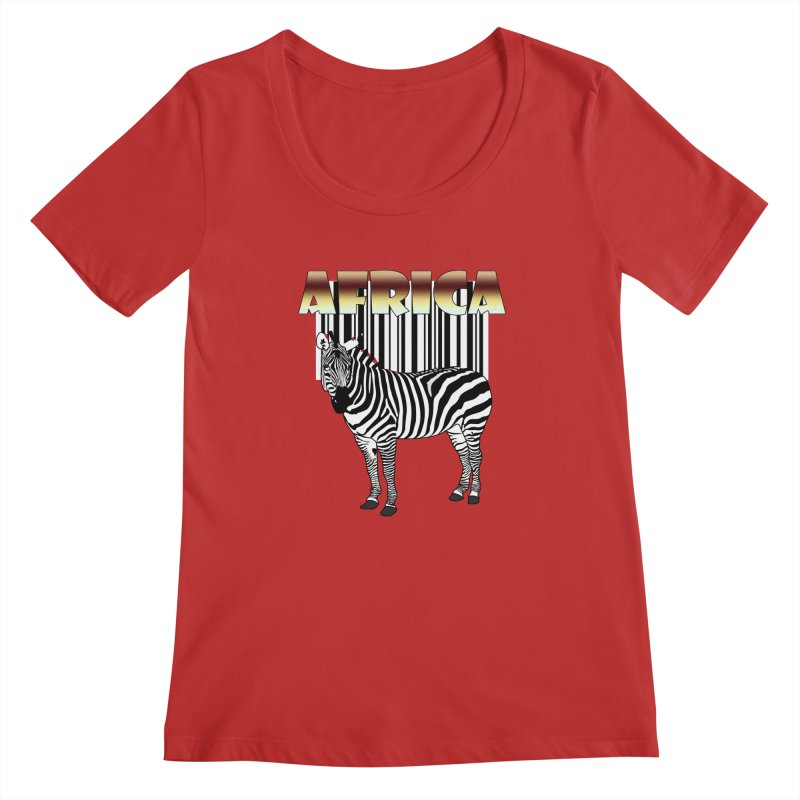 Afrika Zebra barcode Women's Regular Scoop Neck by NadineMay Artist Shop