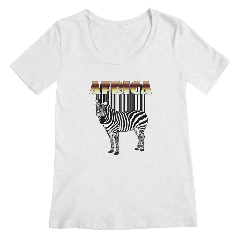 Afrika Zebra barcode Women's Regular Scoop Neck by NadineMay Artist Shop