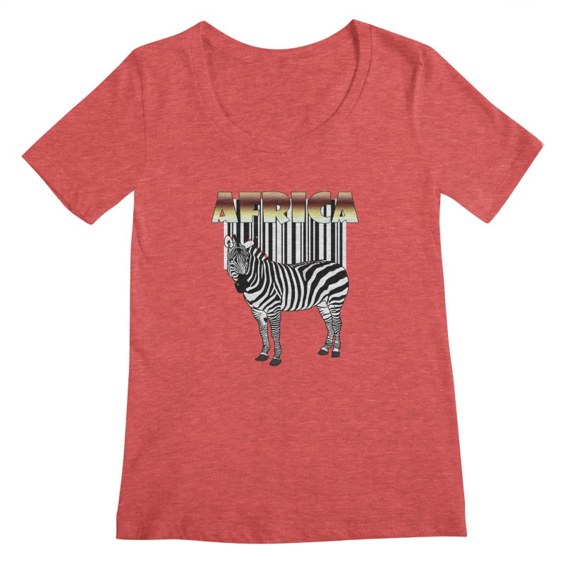 Afrika Zebra barcode Women's Scoopneck by NadineMay Artist Shop