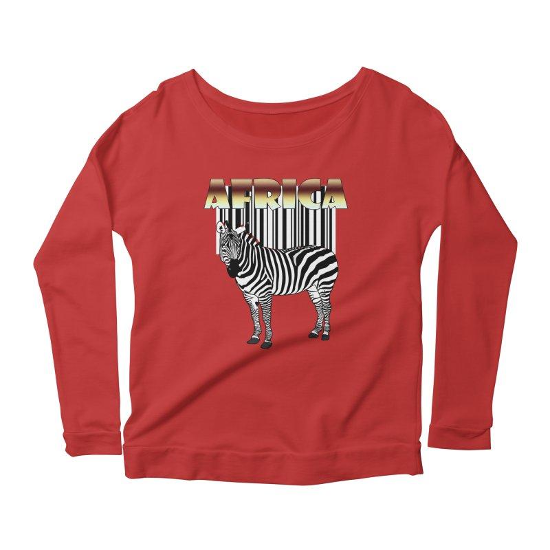 Afrika Zebra barcode Women's Scoop Neck Longsleeve T-Shirt by NadineMay Artist Shop