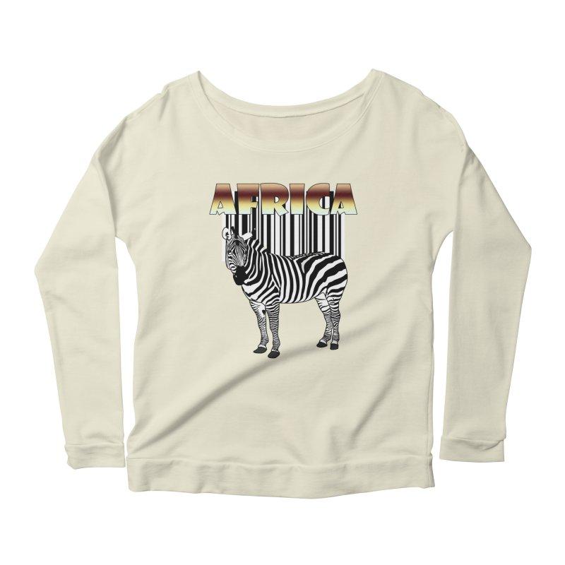 Afrika Zebra barcode Women's Longsleeve Scoopneck  by NadineMay Artist Shop