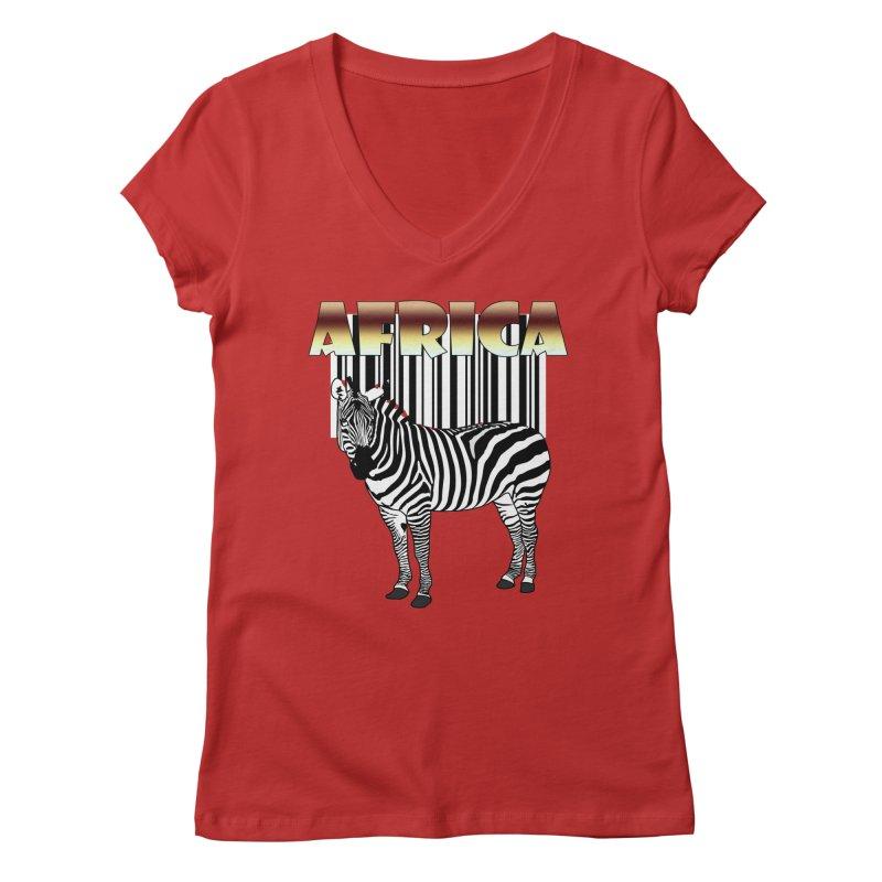 Afrika Zebra barcode Women's Regular V-Neck by NadineMay Artist Shop