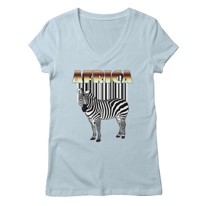 Afrika Zebra barcode Women's V-Neck by NadineMay Artist Shop
