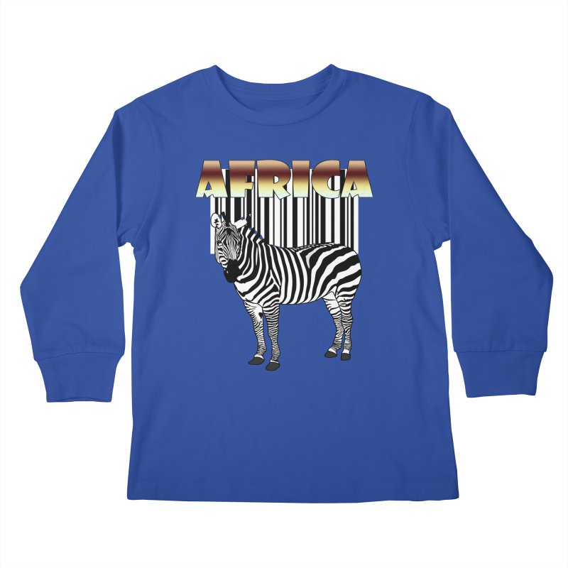 Afrika Zebra barcode Kids Longsleeve T-Shirt by NadineMay Artist Shop