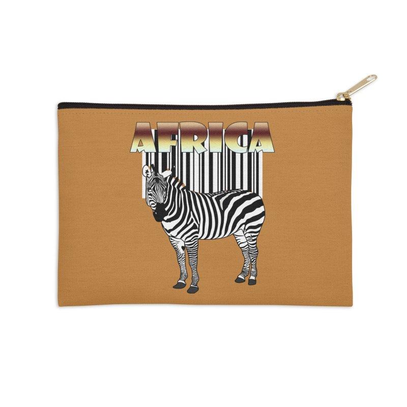 Afrika Zebra barcode Accessories Zip Pouch by NadineMay Artist Shop