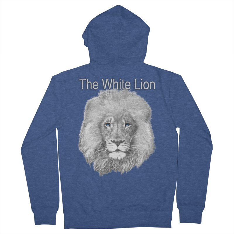 The White Lion Men's French Terry Zip-Up Hoody by NadineMay Artist Shop