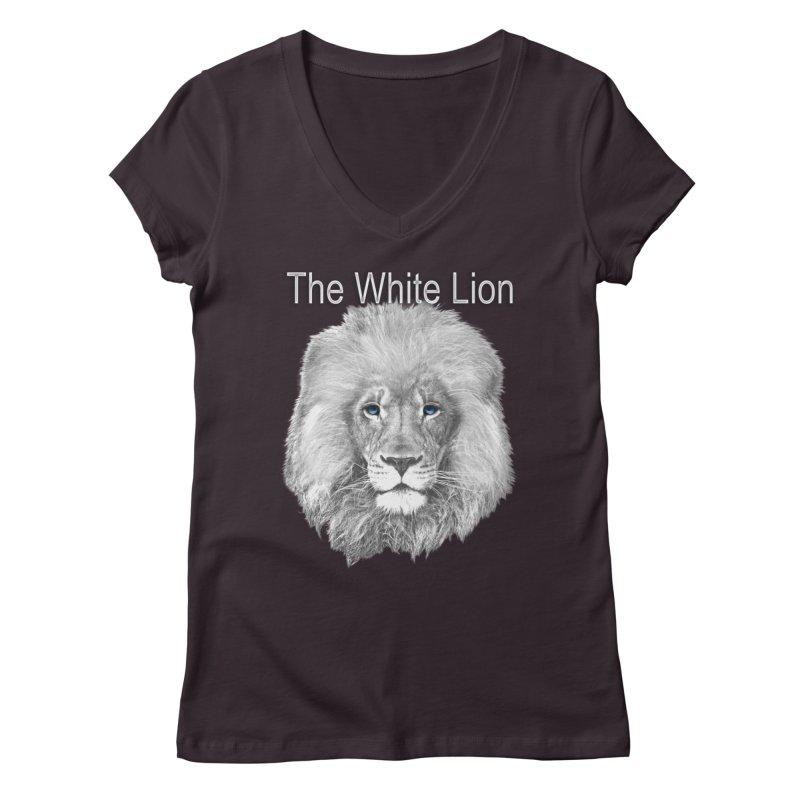 The White Lion Women's V-Neck by NadineMay Artist Shop