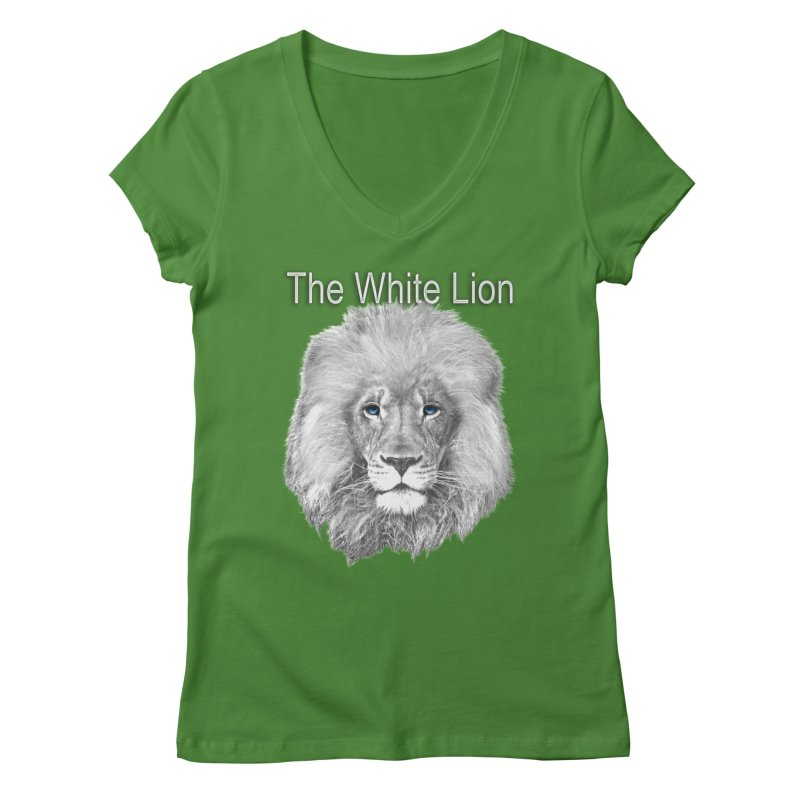 The White Lion Women's Regular V-Neck by NadineMay Artist Shop