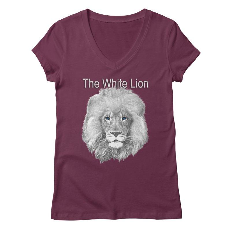 The White Lion Women's Regular V-Neck by NadineMay Artist Shop