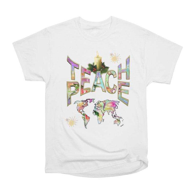 Teach Peace celebration Men's Heavyweight T-Shirt by NadineMay Artist Shop