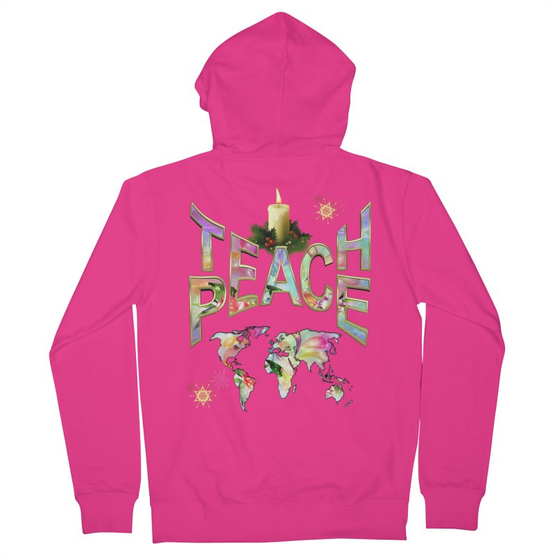 Teach Peace celebration Men's French Terry Zip-Up Hoody by NadineMay Artist Shop