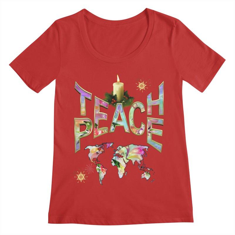 Teach Peace celebration Women's Regular Scoop Neck by NadineMay Artist Shop