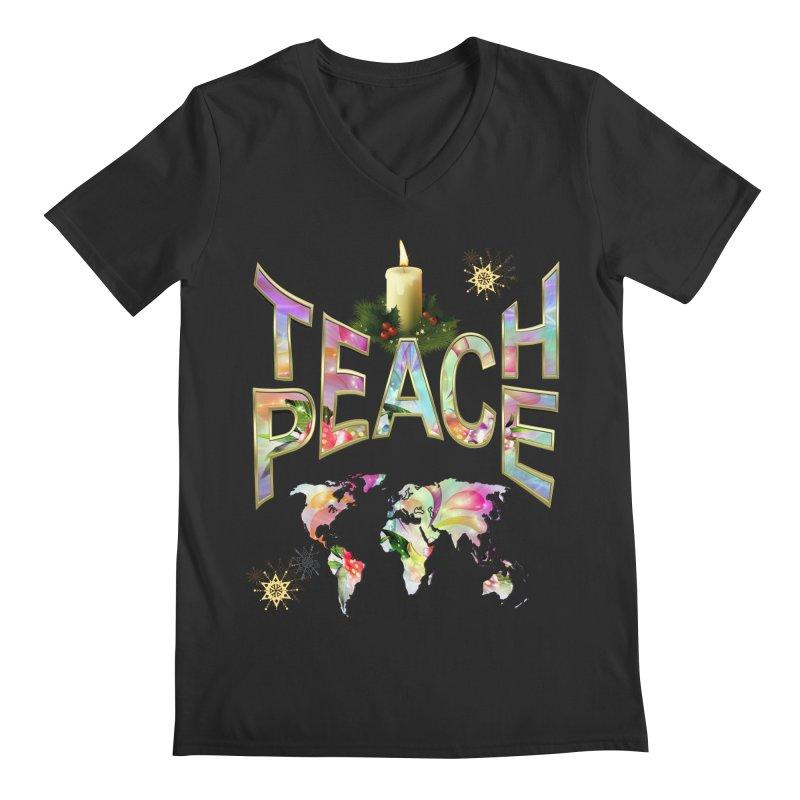 Teach Peace celebration Men's V-Neck by NadineMay Artist Shop