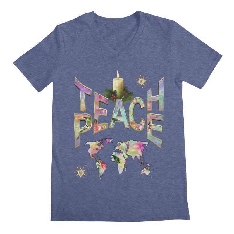Teach Peace celebration Men's Regular V-Neck by NadineMay Artist Shop