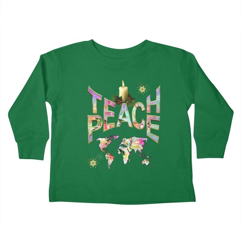 Teach Peace celebration Kids Toddler Longsleeve T-Shirt by NadineMay Artist Shop