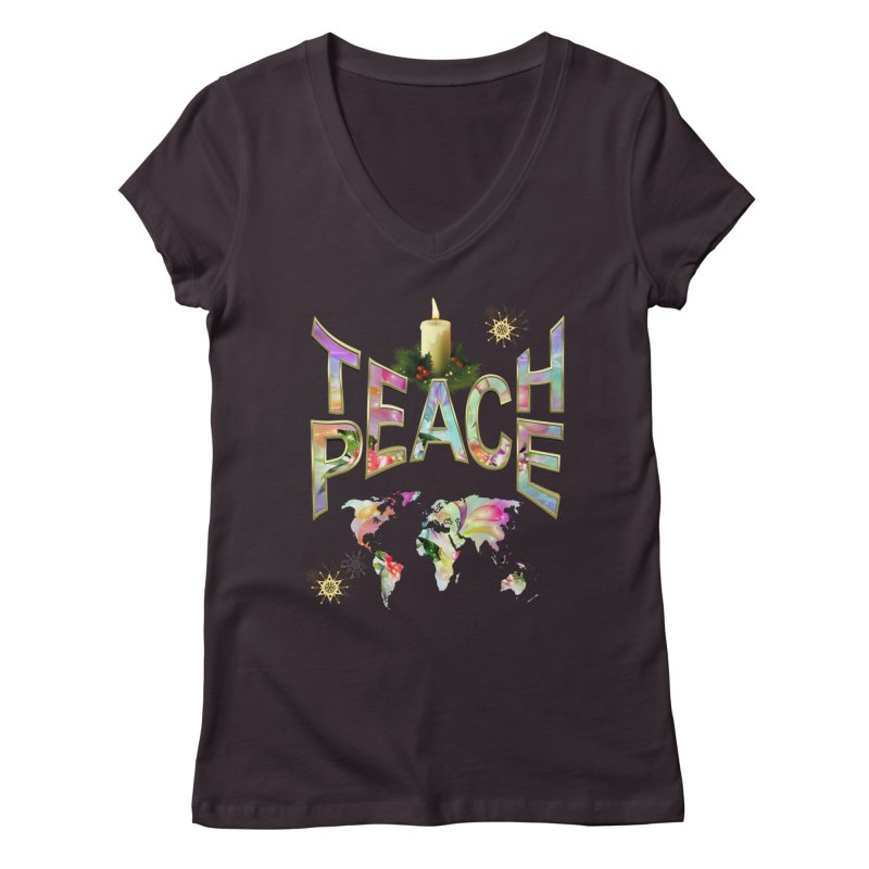 Teach Peace celebration Women's Regular V-Neck by NadineMay Artist Shop