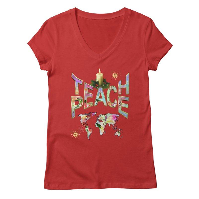 Teach Peace celebration Women's Regular V-Neck by NadineMay Artist Shop