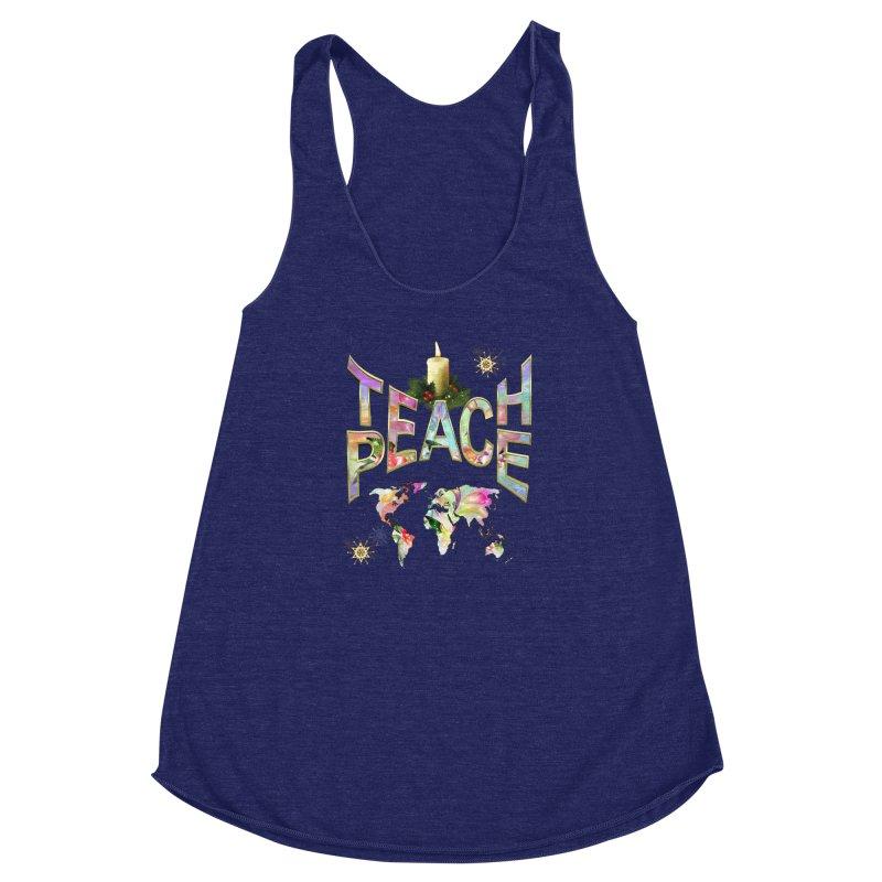 Teach Peace celebration Women's Racerback Triblend Tank by NadineMay Artist Shop